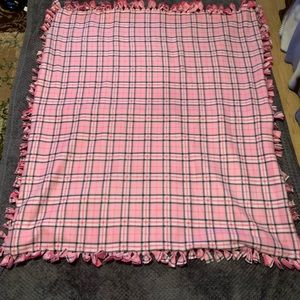 No-Sew fleece blanket New Handmade pink/gray plaid